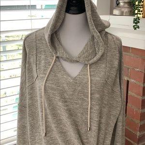 Oversized Dolmon sleeve hooded sweatshirt